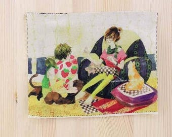 Patchwork characters fabric coupon