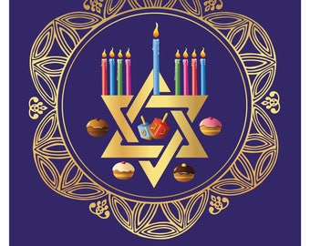 Happy Hanukkah - Hanukkah - Gold - Hanukkah Holiday - Hanukkah Card - Hanukkah Printable- Holiday Cards - Hanukkah Menorah