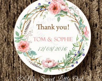 Wedding label - flower wedding sticker - peach wedding thank you tag - bridal shower printable - bridal shower label - wedding printable