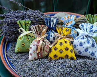 Lavender Sachets - Set of 10 - Lavender Bags From Provence - Hand-Made - Highly Scented in Traditional Provencal Material - Gifts