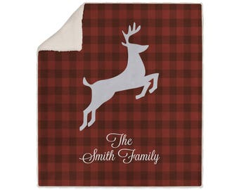 Personalized Super Plush Blanket - Maroon Gingham Deer -Fall Winter Home Decor Monogrammed Gifts For Her Vibrant Design Throw Gifts Blankets