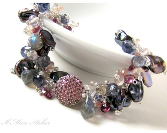 Keishi Pearl, Oregon Sunstone and Garnet bracelet