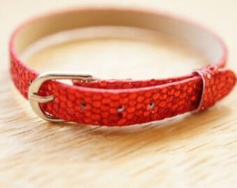 glitter red leather bracelet round