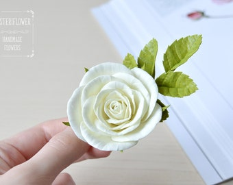 Ivory rose hair clip Rose hair accessory for women Ivory Wedding Hair clips Bride Hair Piece Ivory wedding Flower girl gift Bridal hair clip