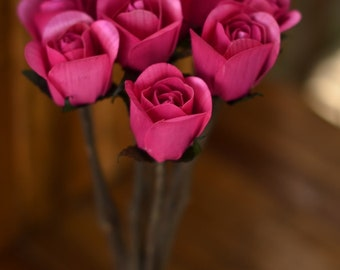 Pink Wooden Roses, Rustic , One Dozen with  Stems