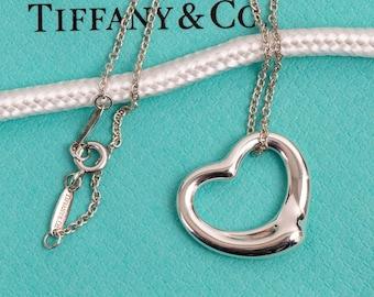 Authentic Tiffany & Co. Medium Open Heart Pendant Necklace // Elsa Peretti // Medium 22mm Pendant // 925 Sterling Silver // Excellent