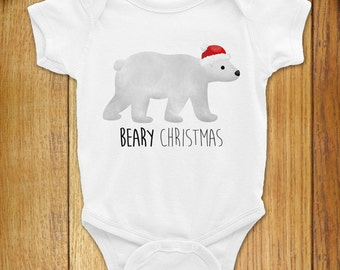 Funny Baby Christmas Onesie Bodysuit Polar Bear - Beary Christmas - Merry Christmas Gift Cute Santa Claus Winter Arctic North Pole Animal