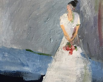 figure of woman figurative art original figurative painting of woman simple figure blue and white art bride bridal