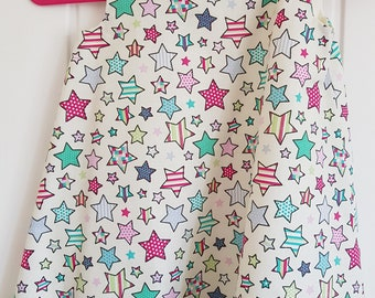Cream Blue Star Girls Pinafore Dress Age 2 years