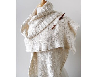 Rococo Hand Knit Shawl in IVORY, Luxurious Cotton Wrap, Women's, Scarf, Wedding, Ruffle, Bride, Natural, Made in USA