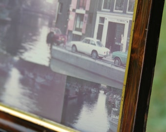 Amsterdam Canal Scene Vintage Photos of Amsterdam Netherlands in Cool Old Wooden Frame