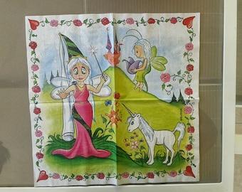 set of 2 Unicorn and fairy paper napkins