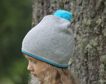 Gray knitted beanie with pom pom for 3-6y.o - Gray pompom beanie - Knitted hat for girl - Toddlers beanie - Knit hat  - Turquoise beanie