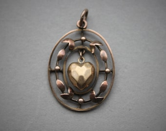 Victorian 9ct Floating Heart Charm Pendant / Antique Sentimental Jewelry