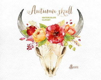 Autumn Skull. Watercolor skulls with antlers and flowers, hand painted, peonies, bull skull, floral, invite, tribal, diy, flowers, boho