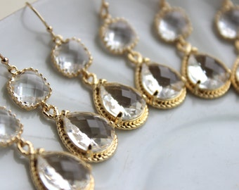 10% Off Set of 3 Wedding Jewelry Gold Crystal Clear Bridesmaid Earrings - Gold Bridal Bridesmaid Two Tier Crystal Earrings Gold Teardrop