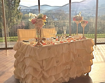 Champagne Ruffled Table Cloth, Champagne Ruched Table Cloth, Ruffled Tablecloth, Ruched Tablecloth, Custom made