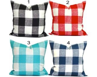 OUTDOOR Buffalo Check Pillow Covers, Outdoor Plaid Pillows. Gingham Check Pillow, Outdoor Pillow, Throw Pillow, Farmhouse Pillow. All Sizes