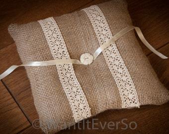 Hessian / Burlap & Lace Rustic Wedding Ring Bearer Pillow