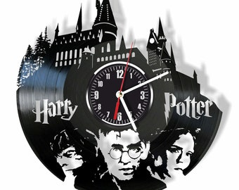 Harry Potter silent wall clock made from real vintage vinyl record GIFT for your friends and relatives for any occasion home decor