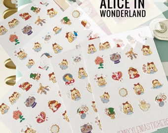 Alice in Wonderland stickers and Cheshire cat charms, planner stickers, planner stickers