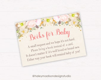 Floral Baby Shower, Books for Baby cards, whimsical Flowers Baby shower Book Cards, Rustic Flowers Baby Shower DIGITAL FILE