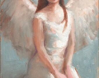 Angel Kneeling Fine Art Print of Original Oil Painting