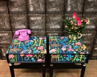 Pair upcycled vintage retro Gplan mid century bedside cabintes tables