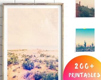 Désert décor imprimé, désert Decor Art, imprimé mural de salon minimaliste Art, en Arizona, désert de Cactus du désert Art, California Art, Arizona désert
