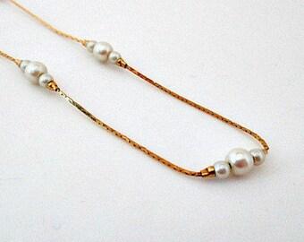 Avon Faux Pearl Whisper Necklace - 1984 Avon Vintage 16 Inch Chain Necklace