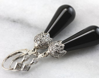 Stunning Black Onyx and Diamond Drop Earrings  ULAQL4-P