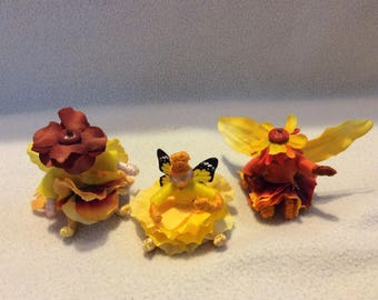 OOAK Mini Poseable Flower Fairy Dolls