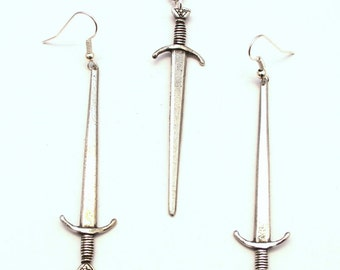 Saxon Sword Necklace and Earrings Set in Fine English Pewter, Gift Boxed (R)