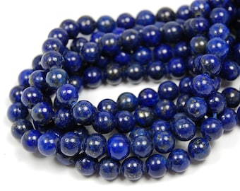 "Two 15.5"" strands Lapis Lazuli Beads 6mm A Grade"