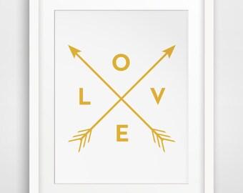 Mustard Wall Art, Mustard Yellow Wall Print, Yellow Art, Arrows Print, Love  Print, Printable Mustard Yellow Home Decor, Gold Wall Print