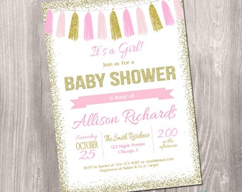 Pink and Gold Baby Shower Invitation, Girl Baby Shower Invitation, baby shower invite, glitter, pink, gold, digital, Printable Invitation