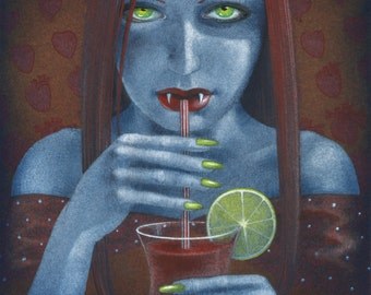 SALE! - 'Bloody Mary or Vampire at a cocktail party' - art print, goth, humor