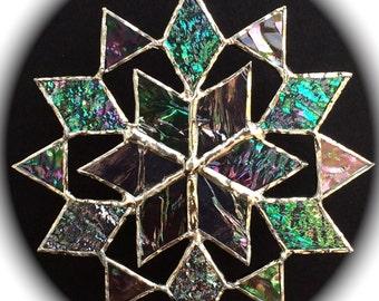 stained glass snowflake suncatcher  (design 6C)