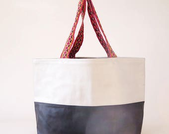 Large Leather Tote/ Carry All / Silver Leather / Peruvian Bag