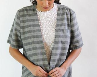 stenopool riot -- vintage 80s asymmetrical oversized plaid vest top M