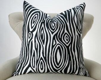 Wood Grain Pillow Cover -MANY SIZES- Faux Bois black white Willow - decorative throw euro sham cushion modern contemporary premier prints