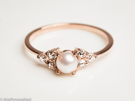 14k Rose Gold Engagement Ring Pearl Engagement Ring