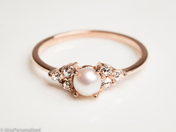 engagement artemer pearl solid rings seed tiny jewellery gold thin ring products