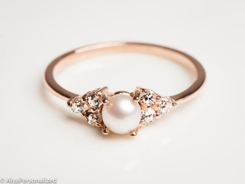 Super 14k Rose Gold Engagement Ring Pearl Engagement Ring UO62