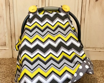 Citron Chevy Carseat Canopy- Ready 2 Ship