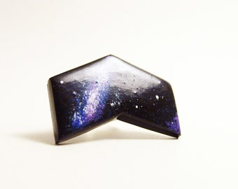 Ajustable ring galaxy chevron polymer clay
