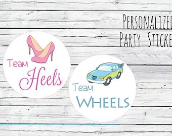 Team Wheels or Team Heels Gender Reveal Party Stickers Team Boy, Team Girl, Baby Shower Voting, Favor Tags, Labels, You Choose Size