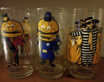 Rare Vintage McDonald's Collector Glasses - Complete Set of 3 Glasses