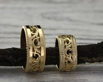 His and Her vintage style matching bands set, 14k yellow gold wedding rings, Vine wedding rings, His and her wedding ring, Wide wedding band