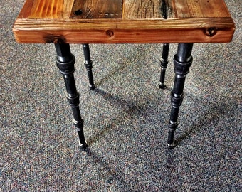 Industrial / Steampunk End Table with Tapered Pipe Legs
